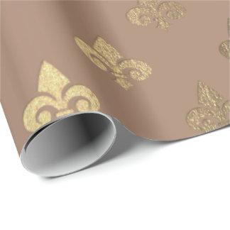Chocolate Sepia Gold Metallic Fleur-de-lis