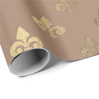 Chocolate Sepia Gold Metallic Fleur-de-lis Wrapping Paper