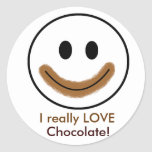 "Chocolate Smiley Face ""I really LOVE Chocolate!"" Sticker"