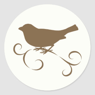 Chocolate Sparrow with Ribbon Classic Round Sticker