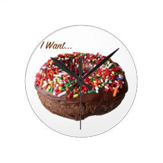 Chocolate Sprinkle Donut Clock Round