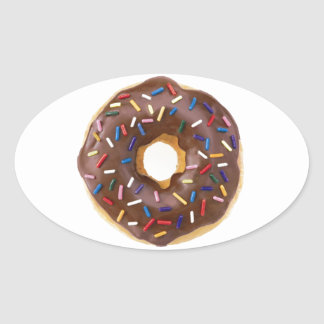 Chocolate Sprinkle Doughnut Oval Sticker
