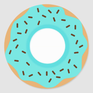 Chocolate Sprinkles Blue Donut Classic Round Sticker