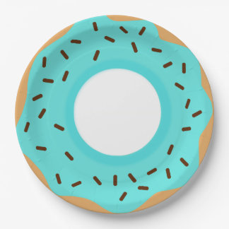 Chocolate Sprinkles Blue Donut Paper Plate