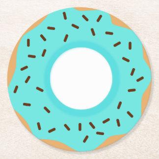 Chocolate Sprinkles Blue Donut Round Paper Coaster