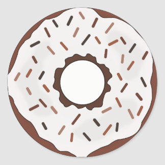 Chocolate Sprinkles Donut Round Sticker