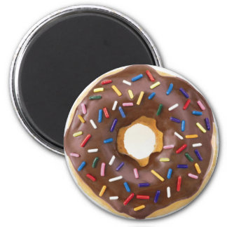 Chocolate Sprinkles Doughnut 2 Inch Round Magnet