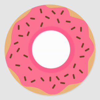 Chocolate Sprinkles Pink Donut Classic Round Sticker