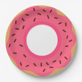Chocolate Sprinkles Pink Donut Paper Plate