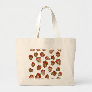 Chocolate strawberies large tote bag