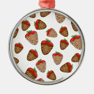 Chocolate strawberies Silver-Colored round ornament