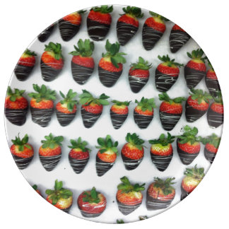 Chocolate Strawberries Porcelain Plate