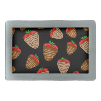 Chocolate strawberries pattern rectangular belt buckles