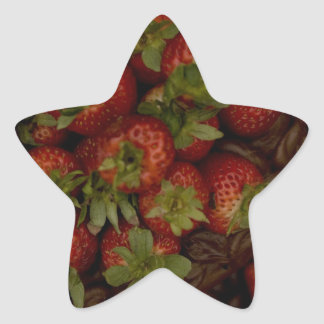 Chocolate Strawberry Cake Star Sticker
