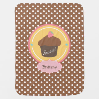Chocolate Strawberry Cupcake Personalized Stroller Blanket
