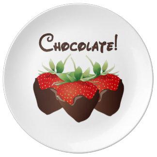 Chocolate Strawberry Porcelain Plates