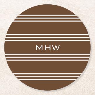 Chocolate Stripes custom monogram paper coasters