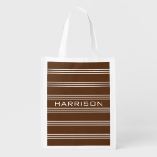 Chocolate Stripes custom monogram reusable bag Market Tote
