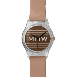 Chocolate Stripes custom monogram watch