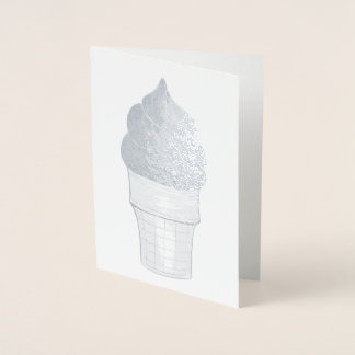 Chocolate Swirl Soft Serve Ice Cream Cone Foil Card