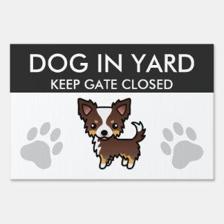 Chocolate Tricolor Long Coat Chihuahua Cartoon Dog Sign