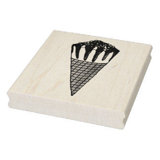 Chocolate Vanilla Ice Cream Nutty Nuts Buddy Cone Rubber Stamp