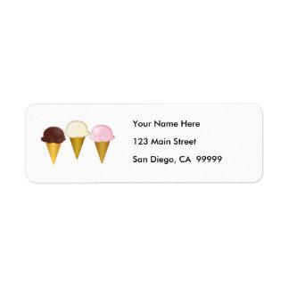 Chocolate, Vanilla & Strawberry Ice Cream Cones