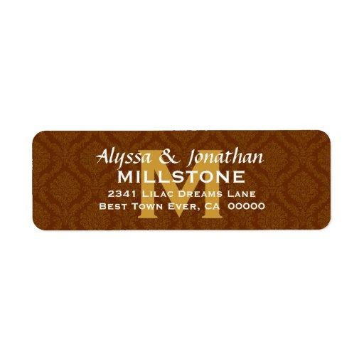 Chocolate Wedding Monogram Address Label V9