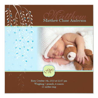 "Chocolate Whispers Baby Announcement 5.25"" Square Invitation Card"
