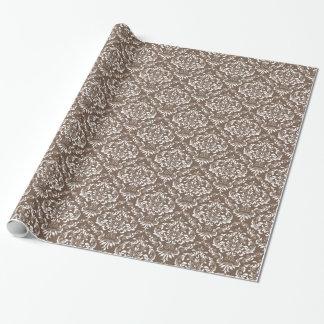 Chocolate White Damask Pattern