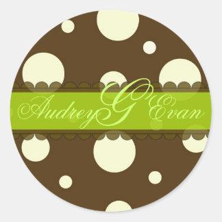 Chocolate with vanilla polka dots stickers