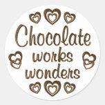 Chocolate Works Wonders Classic Round Sticker