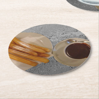 Chocolate y Churros Round Paper Coaster
