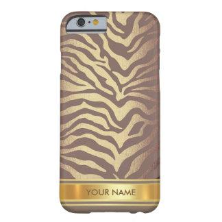 Chocolate Zebra Skin Safari Gold Glam Barely There iPhone 6 Case