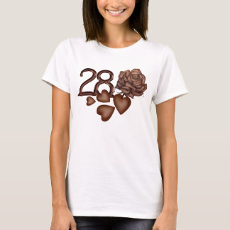 Chocolates rose and number 28 birthday t-shirts