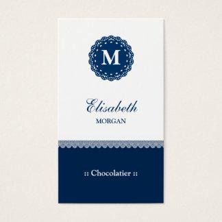 Chocolatier Elegant Blue Lace Monogram Business Card