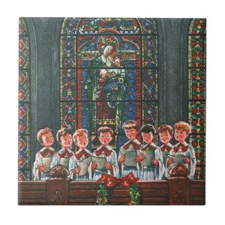 Choeur vintage de Noël dans le chant d'enfants Carreaux En Céramique