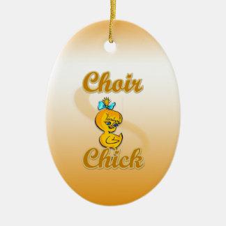Choir Chick Ceramic Oval Ornament