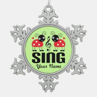 Choir Music Ladybug Pewter Snowflake Ornament
