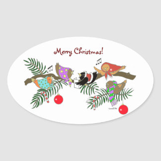 Choir of Christmas Birdies Ukrainian Folk Art Oval Sticker