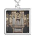 Choir organ with open panels silver plated necklace