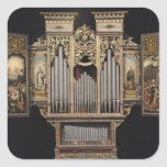 Choir organ with open panels square sticker