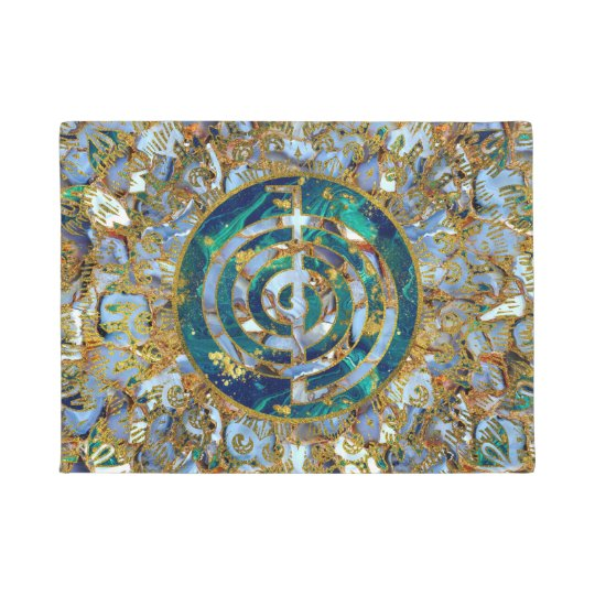 Choku Rei Symbol in Mandala on Marble and Gold Doormat