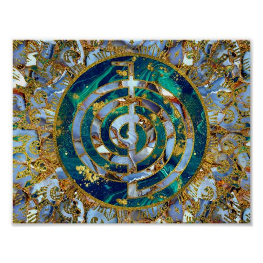 Choku Rei Symbol in Mandala on Marble and Gold Poster