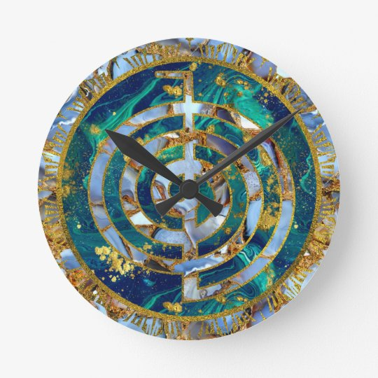 Choku Rei Symbol in Mandala on Marble and Gold Round Clock