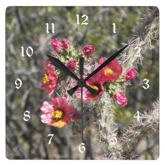 Cholla Cactus Blooms Wallclock