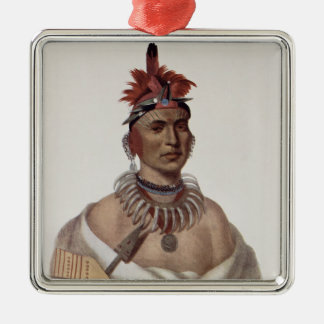 Chon-Ca-Pe or 'Big Kansas', an Oto Chief Silver-Colored Square Ornament