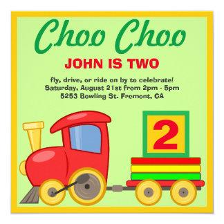 Choo Choo Colorful Toy Train Birthday Party Invite