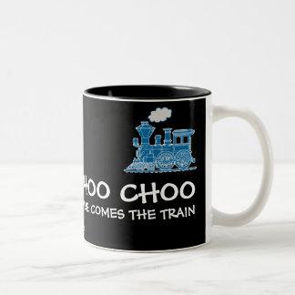 Choo Choo here comes the train navy & black mug