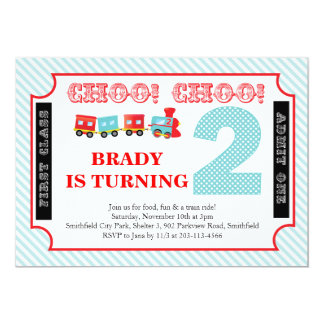 Choo Choo Look Who's 2 - Party Invitation